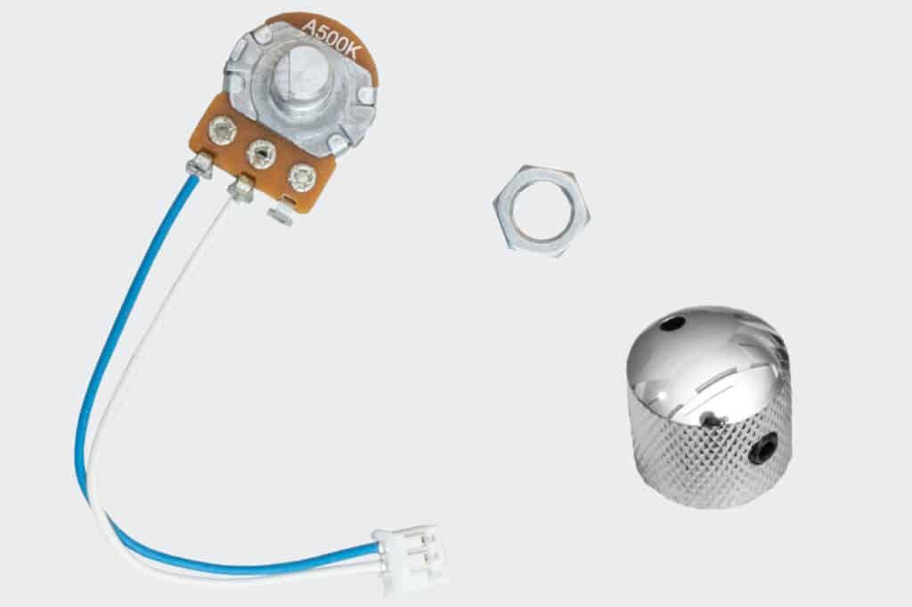 Potentiometer mit Kabel, Drehknopf und Mutter