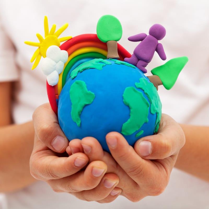 Earth shape plasticine ball
