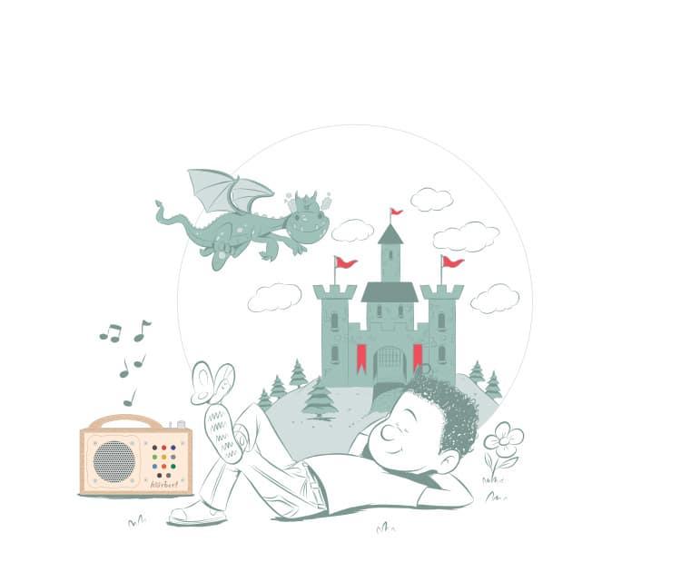 Illustration: Kind in seiner Fantasiewelt
