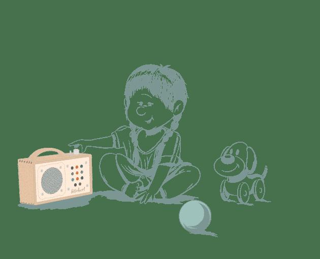 Illustration: Kind mit hörbert
