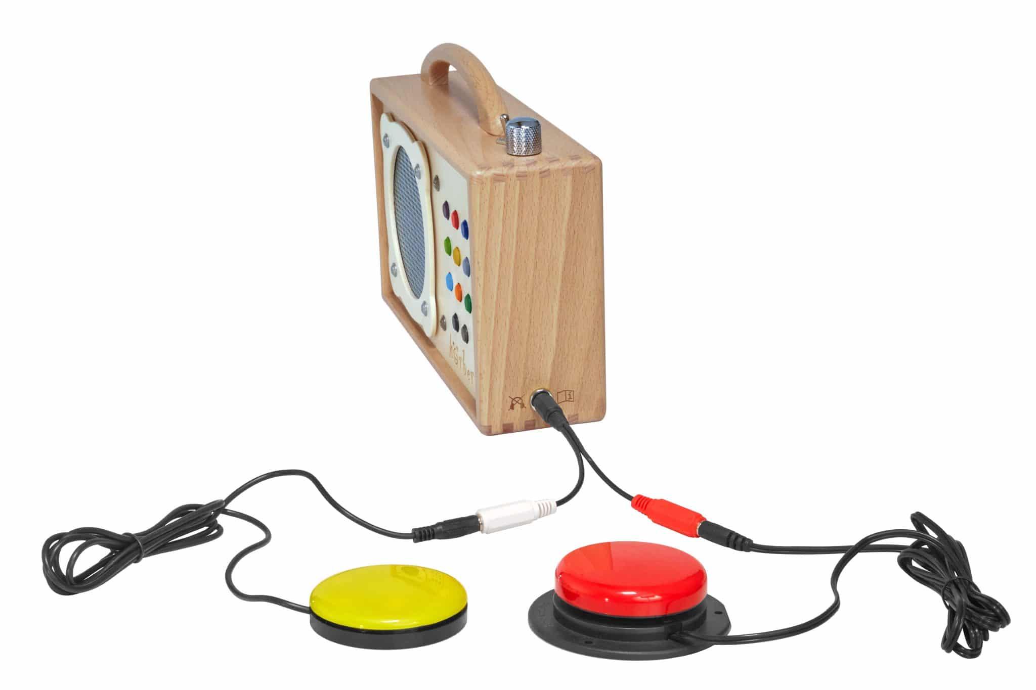10 Jahre hörbert barrierefrei mit y-Stecker und jelly-button in rot und gelb
