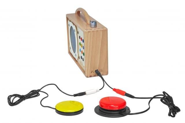 hörbert barrier-free avec y-plug et jelly-button en rouge et jaune