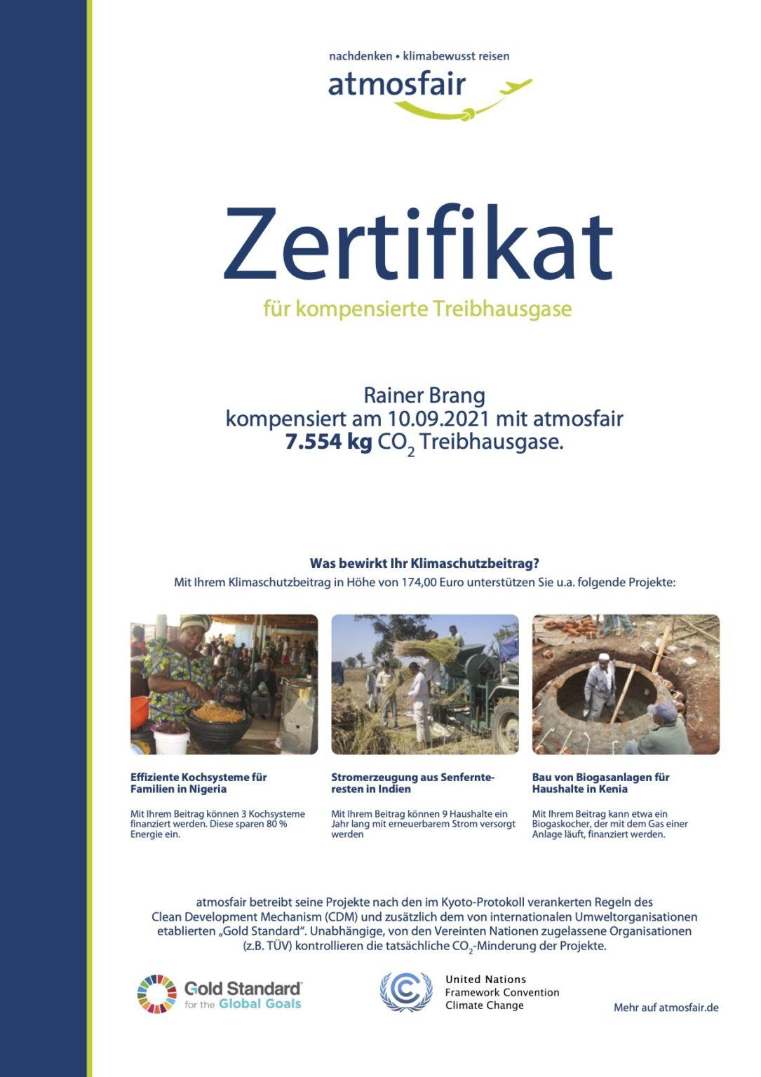 Atmosfair Zertifikat für CO2 Kompensation eines Linienflugs